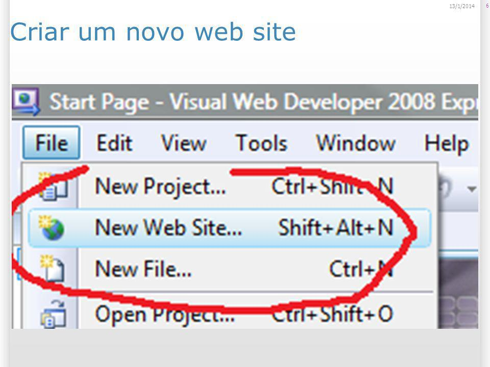 Selecionar a opção ASP.NET Web Site 714/1/2014