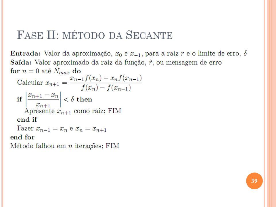 Figuras extraídas de [Ruggiero, 1996] F ASE II: MÉTODO DA S ECANTE