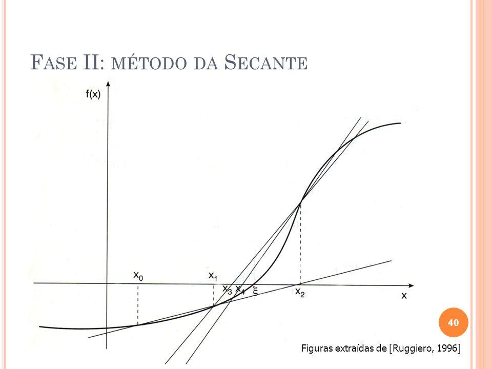 Vantagens: Simples Rápida convergência como o método deNewton e não necessita do conhecimento da derivada da função Desvantagens: Nem sempre converge Muito sensível à estimativa inicial Se a derivada for nula o método falha