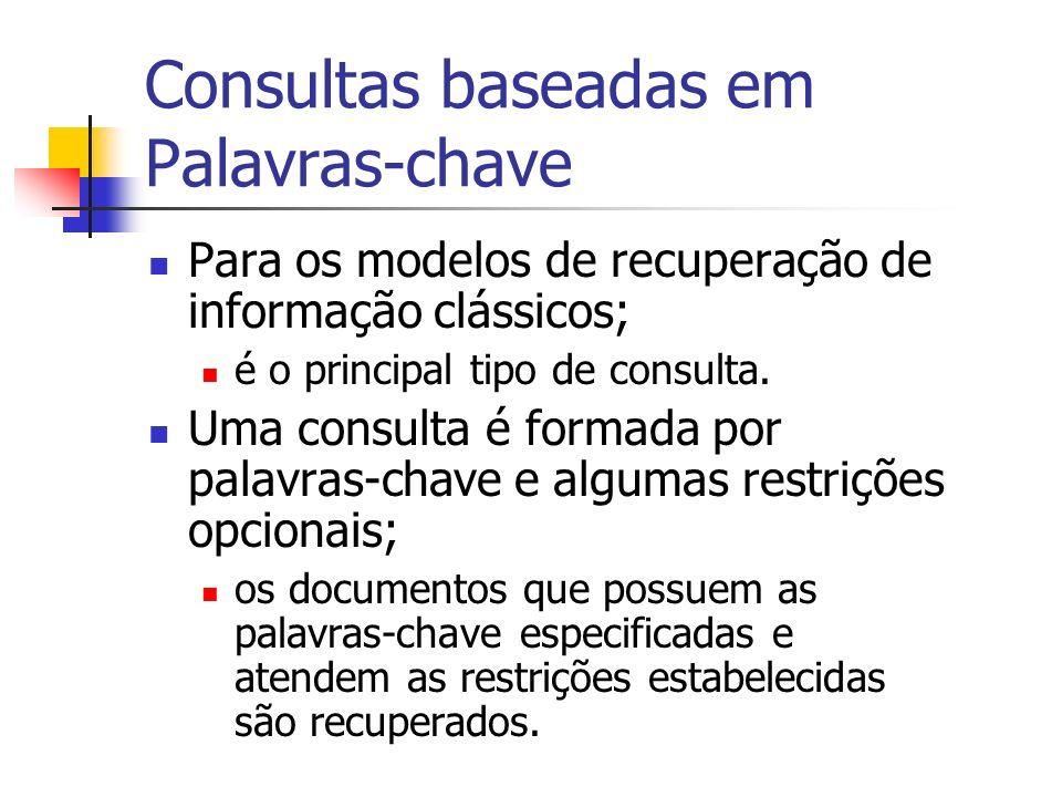 Consultas baseadas em Palavras-chave Populares; intuitivas; fáceis de especificar; em geral, processadas rapidamente.