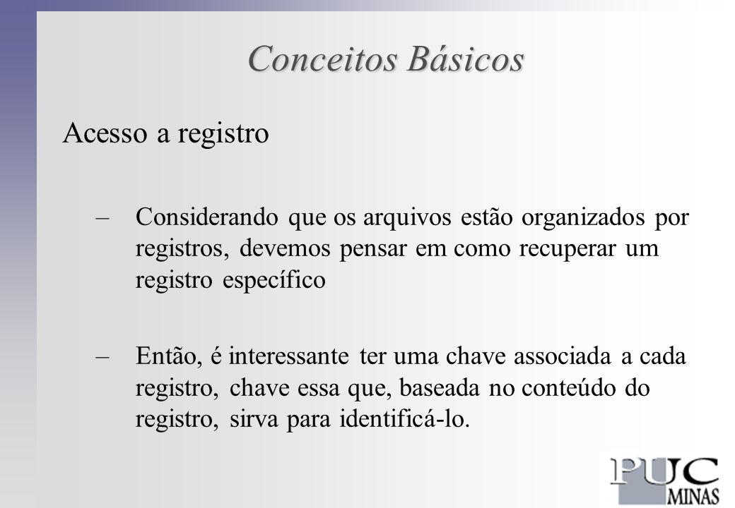 Conceitos Básicos Chave Externa –não é composta por atributos –deriva de características do registro físico exemplo: NÚMERO DE REGISTRO são atribuídos de modo sistemático, podendo, por isso, identificar um registro de modo único (podem ser usados como chave primária)