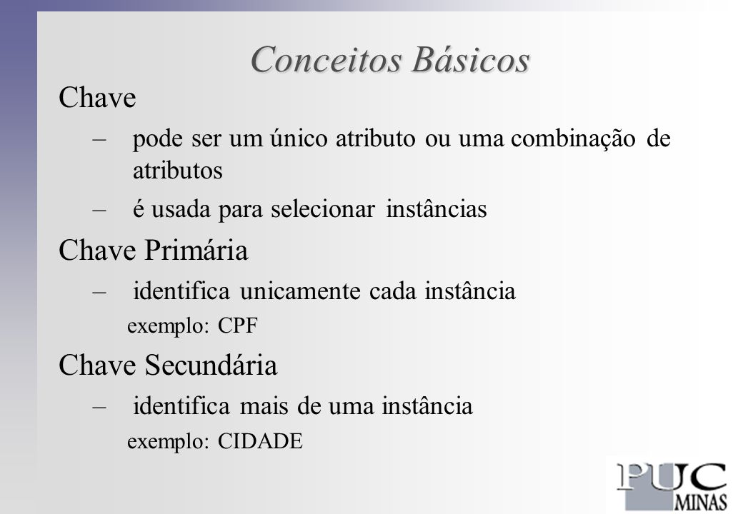Conceitos Básicos Registros –estrutura que agrega dados de vários tipos –pode ser usada para representar uma entidade –todos os atributos que descrevem a entidade devem estar representados Campo –é a unidade de informação do registro –cada campo representa um atributo –cada campo tem um nome, um tipo e um tamanho