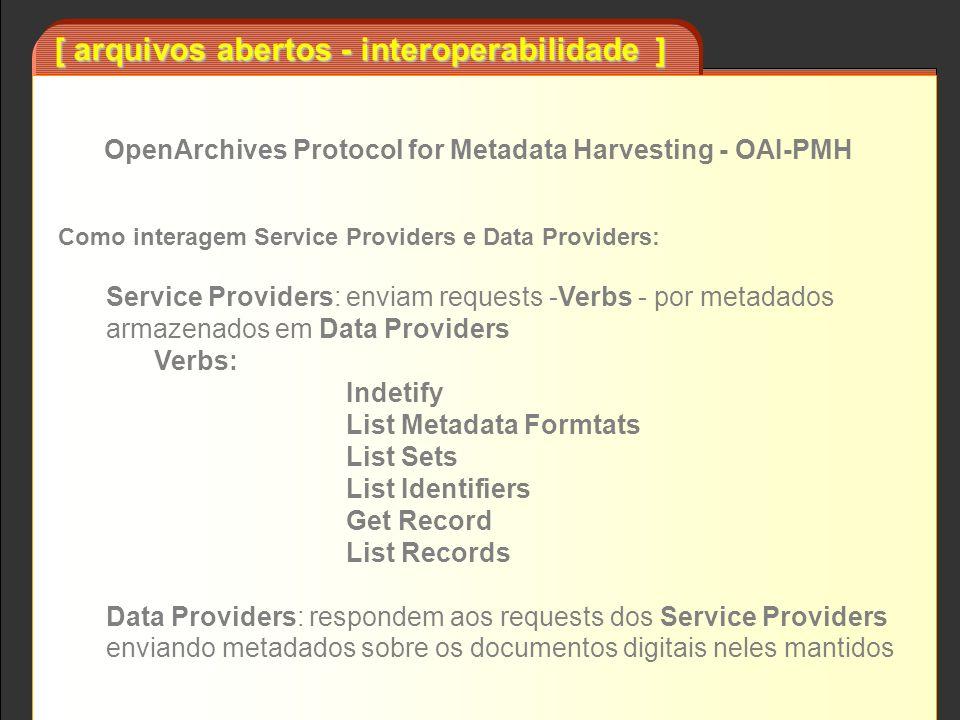 [ arquivos abertos - interoperabilidade ] Busca unificada Service Provider BD de metadados Data Provider A Data Provider B Data Provider C Data Provider D...