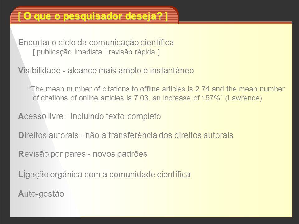 [ encurtamento do ciclo da comunicação científica ] autor usuário originais -artigos -teses -relatórios -etc.