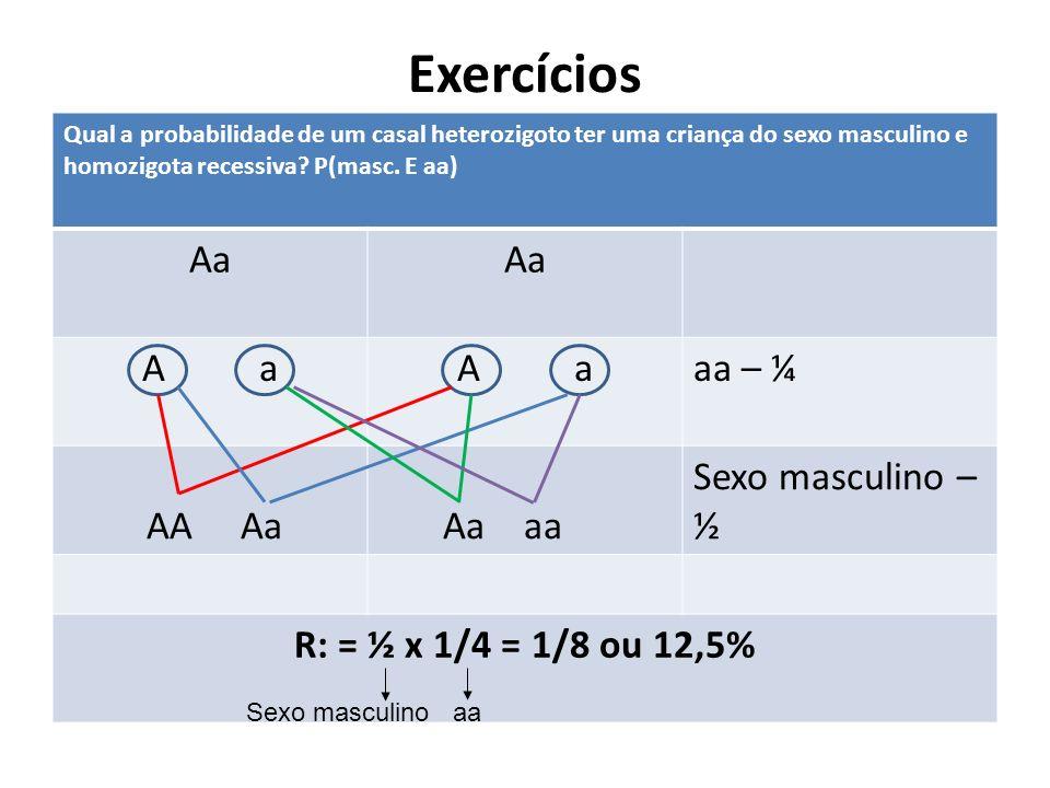 Exercícios aa Aa AA Em camundongos, o genótipo aa é cinza; Aa é amarelo e o AA morre no início de desenvolvimento embrionário.