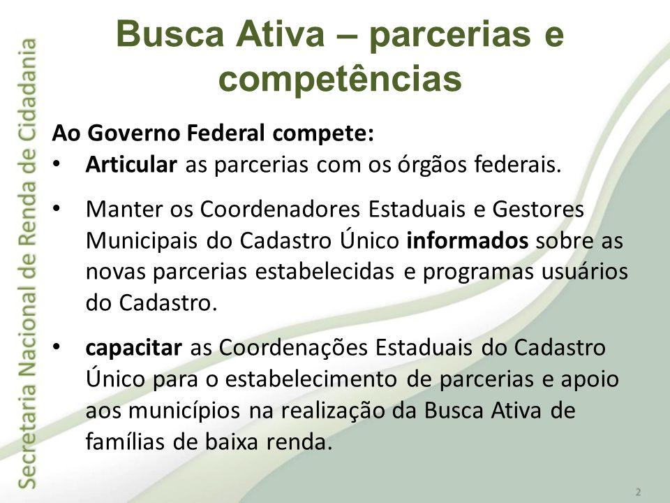 Ao Coordenador Estadual do Cadastro Único compete: Identificar e estabelecer parcerias no âmbito do Estado, de forma a facilitar a interlocução e as ações de Busca Ativa no município.