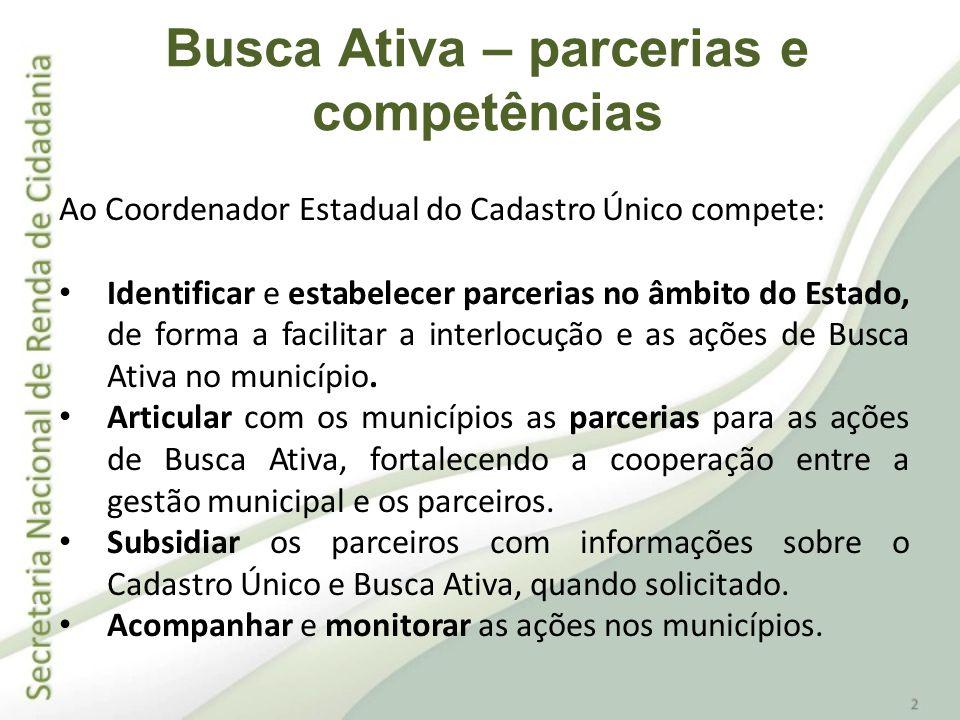 Ao Gestor Municipal do Cadastro Único compete: Articular as ações de busca ativa com a coordenação estadual.
