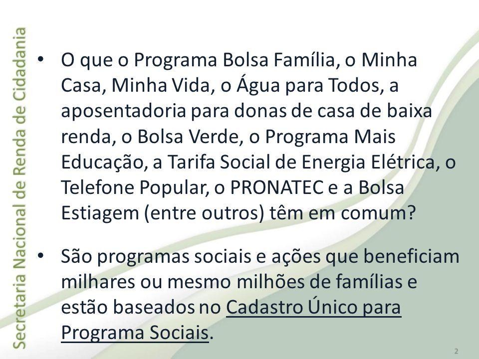 Programa Bolsa Família (PBF): 13,8 milhões de famílias.