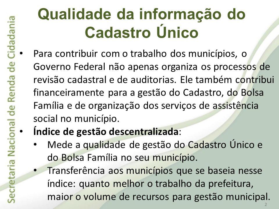 Diversas políticas sociais do Governo Federal têm como base o Cadastro Único.