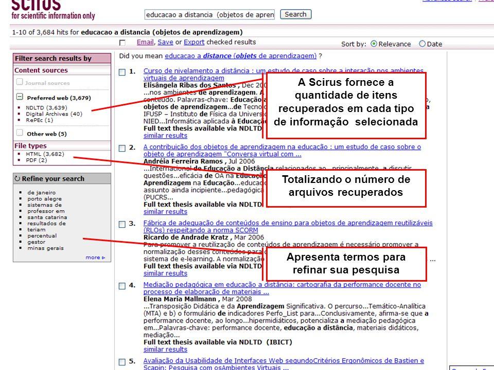 Compartilhe resultados de sua pesquisa Selecione itens a compartilhar, Clique em email para encaminhar links dos documentos escolhidos