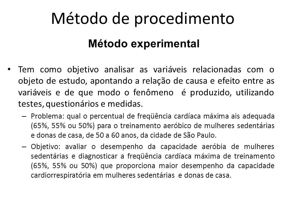Métodos de procedimento Procura explicar um problema a partir de referências e/ou revisão de literatura de obras e documentos.