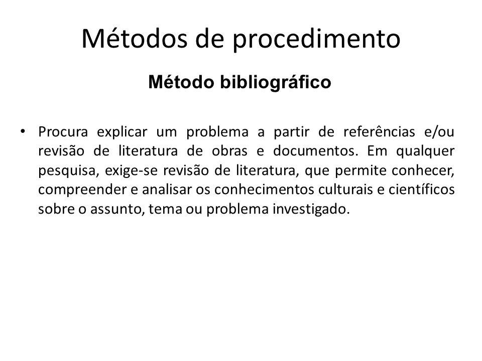 Métodos de procedimento Parte do princípio de que os fatos, costumes, procedimentos e formas de vida atual são originados no passado.