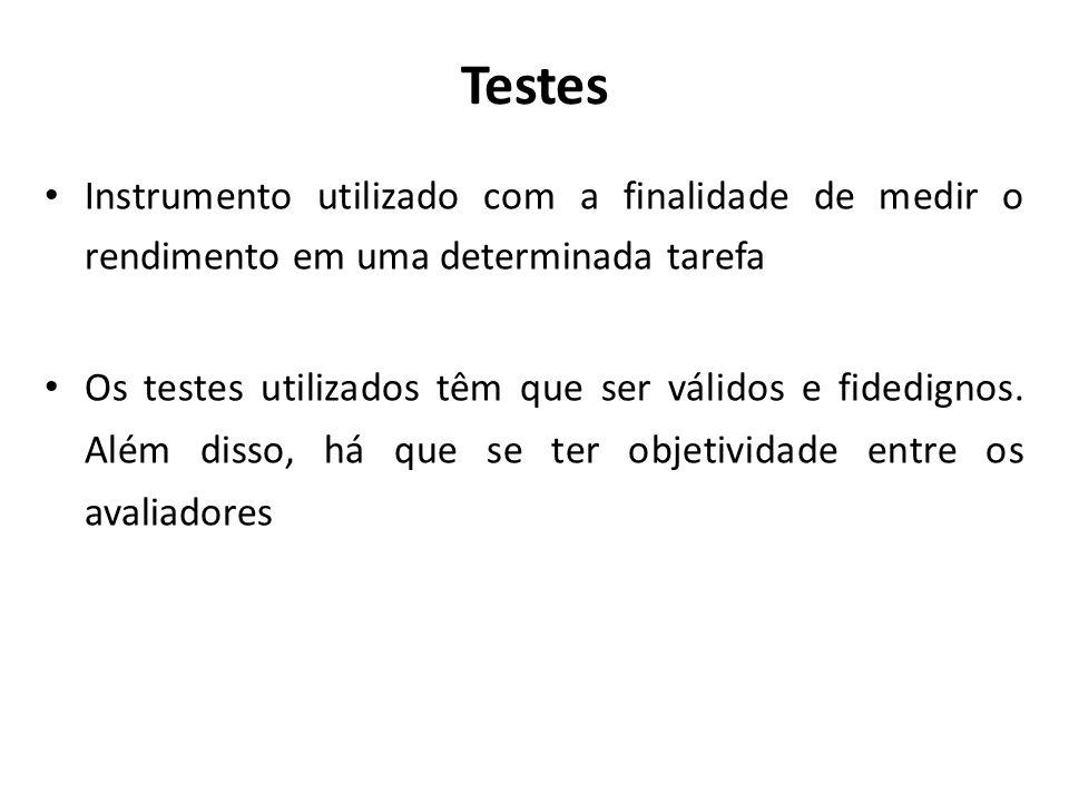 Testes Validade – o teste mede o que se propõe a medir Fidedignidade – se testarmos o mesmo sujeito repetidas vezes teremos o mesmo resultado.