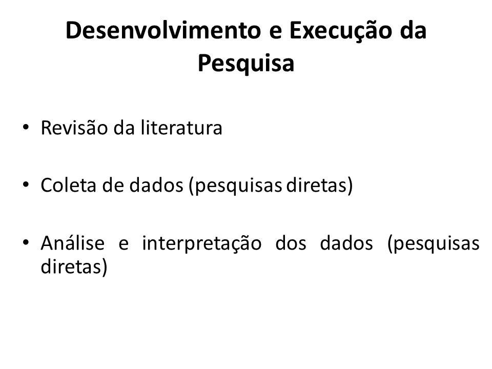 Revisão de Literatura É a crítica do material bibliográfico relacionado aos seus objetivos (da pesquisa) Deve fundamentar os pressupostos teóricos do problema formulado Normalmente, a revisão de literatura fornece os parâmetros para as condutas adotas em pesquisas diretas