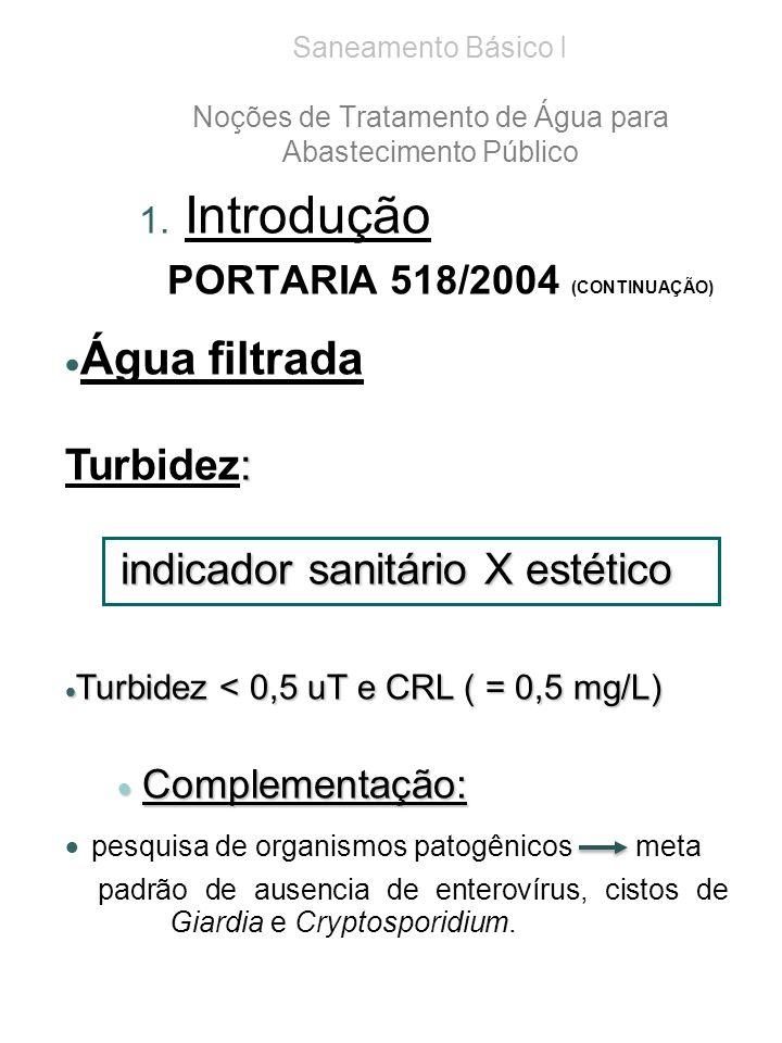 Saneamento Básico I Noções de Tratamento de Água para Abastecimento Público 1.