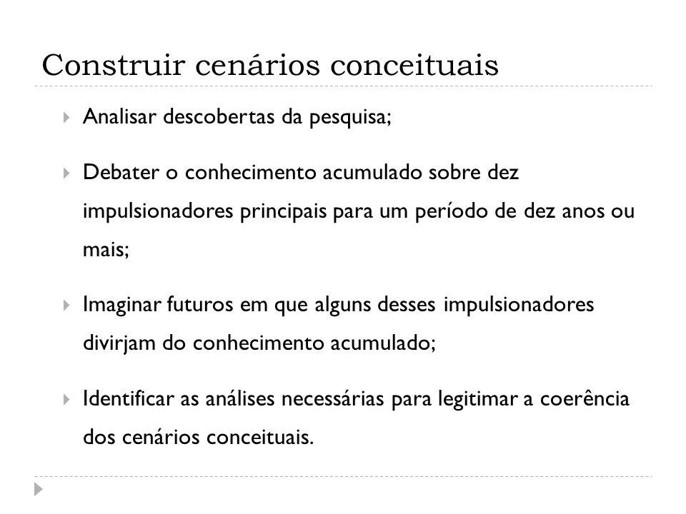 Finalizar os cenários Examinar o trabalho de análise; Completar o cenários com pressupostos complementares sobre outros impulsionadores; Debater estratégias que possam levar ao sucesso nos diferentes cenários