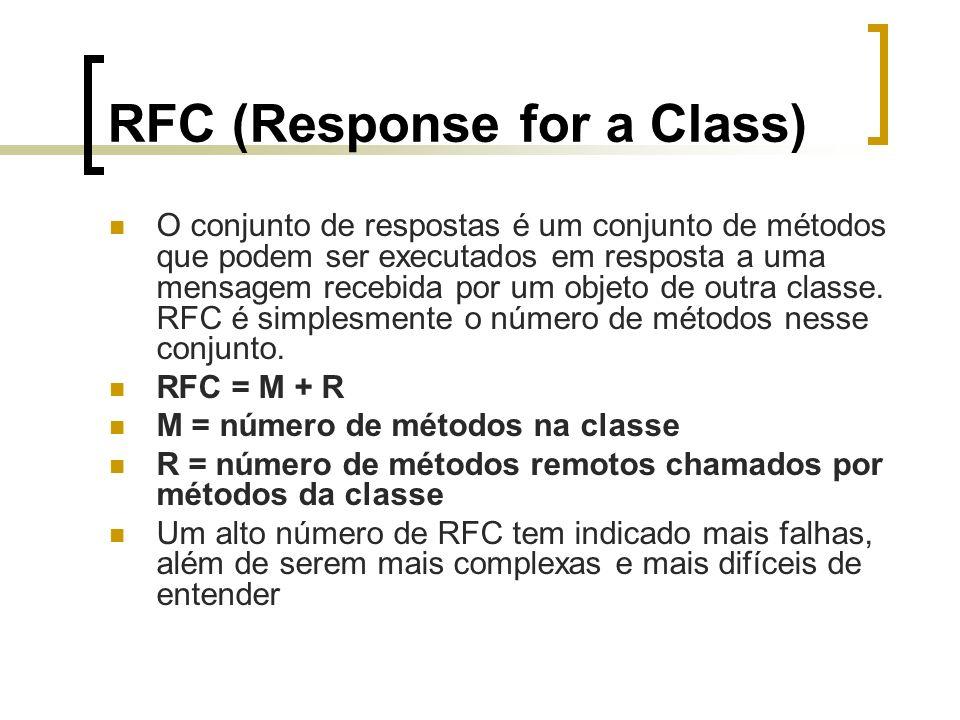 Estudo de Caso - RFC ApartamentoRFC = 2 + 0 = 2 ApartamentoDAORFC = 4 + 4 = 8 ProprietarioRFC = 2 + 0 = 2 ProprietarioDAORFC = 4 + 4 = 8 TelefoneRFC = 0 + 0 = 0 CondominioRFC = 3 + 1 = 4 CondominioDAORFC = 4 + 4 = 8 PagamentoRFC = 1 + 0 = 1 PagamentoDAORFC = 4 + 4 = 8 DespesaRFC = 1 + 2 = 3 DespesaDAORFC = 4 + 4 = 8 VariavelRFC = 1 + 0 = 1 GeralRFC = 1 + 0 = 1 InterfaceDAORFC = 4 + 0 = 4