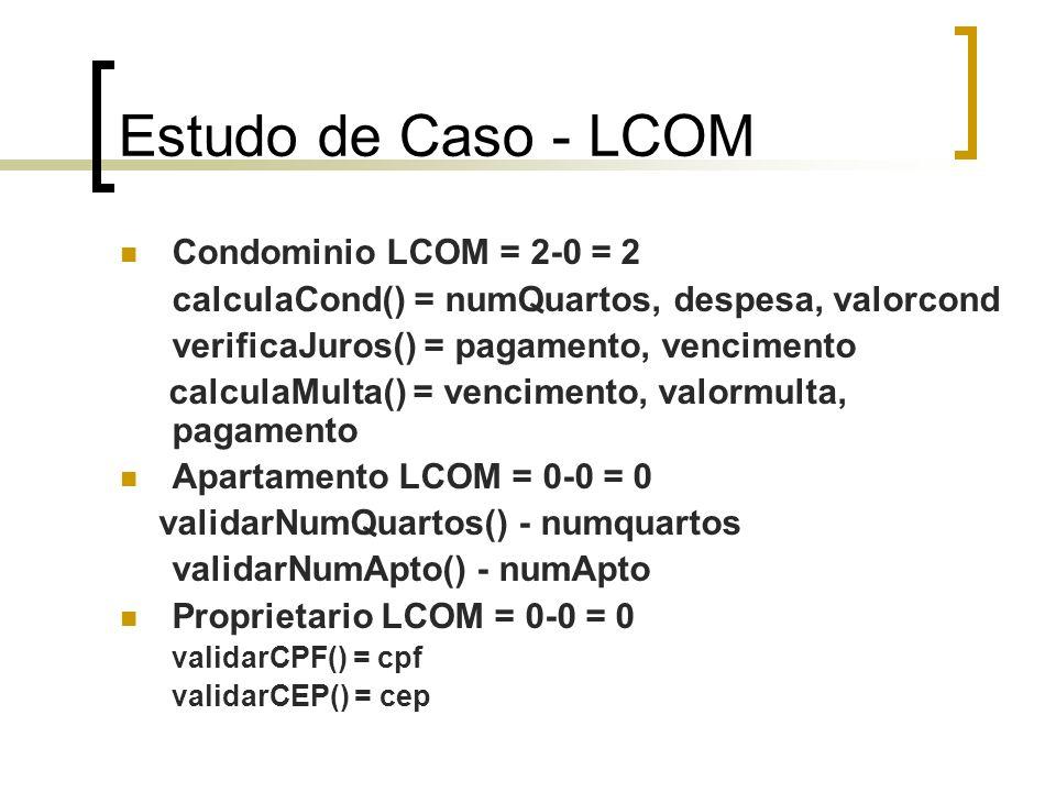 Estudo de caso – LCOM (cont) Pagamento LCOM = 0-0 = 0 geraBarCode() - codigoPg Despesa LCOM = 0-0 = 0 calcularDespesa() - valor