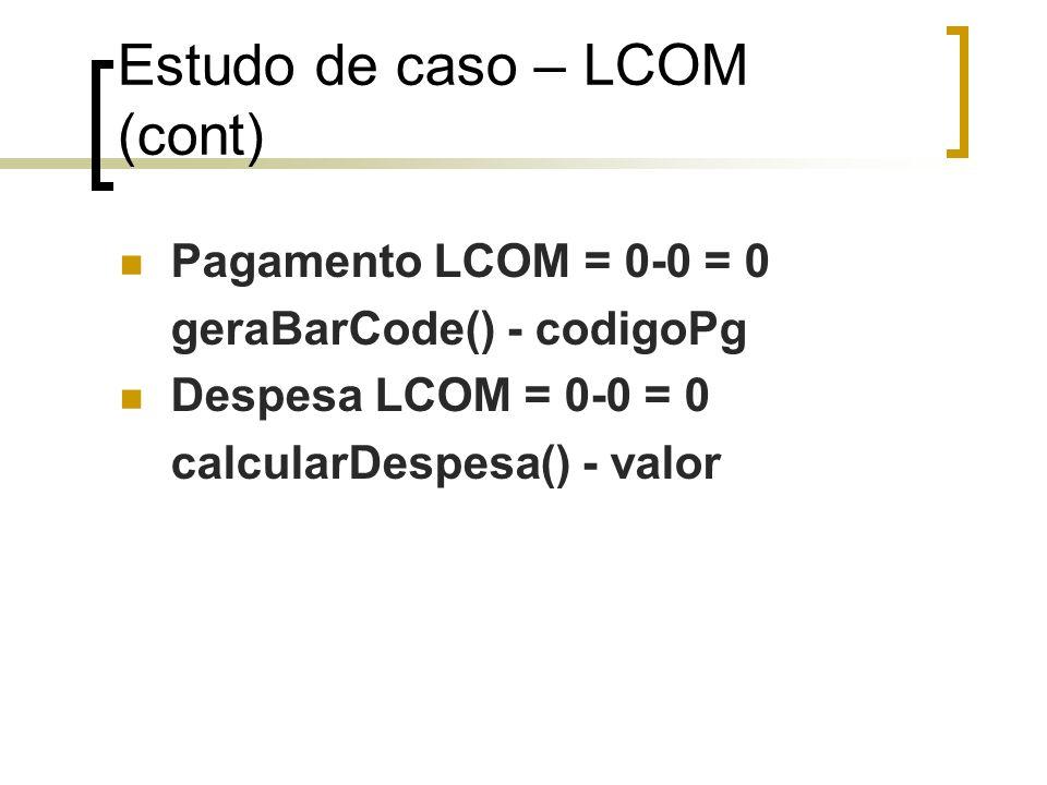 Estudo de Caso - LCOM Conclusão: Classes com LCOM = 0, consideradas coesas: Pagamento Proprietario Despesa Apartamento Classes com LCOM > 0, que precisam ser divididas: Condominio