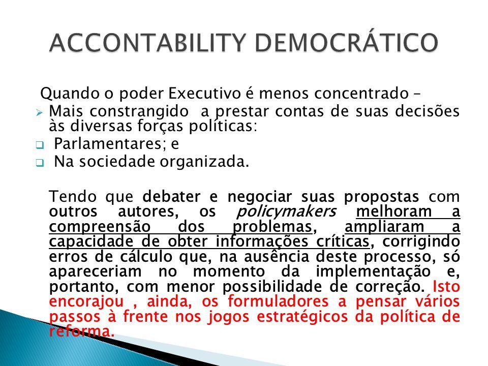 Supõe a conciliação, tanto do ponto de vista analítico quanto de vista normativo, entre as exigências da eficiência e os imperativos da democracia.