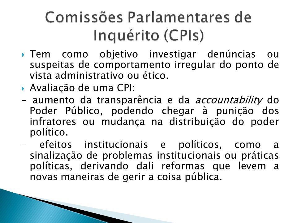 Constituem um instrumento de prestação de contas do Legislativo à sociedade, não necessariamente através da punição de envolvidos nas irregularidades constatadas.