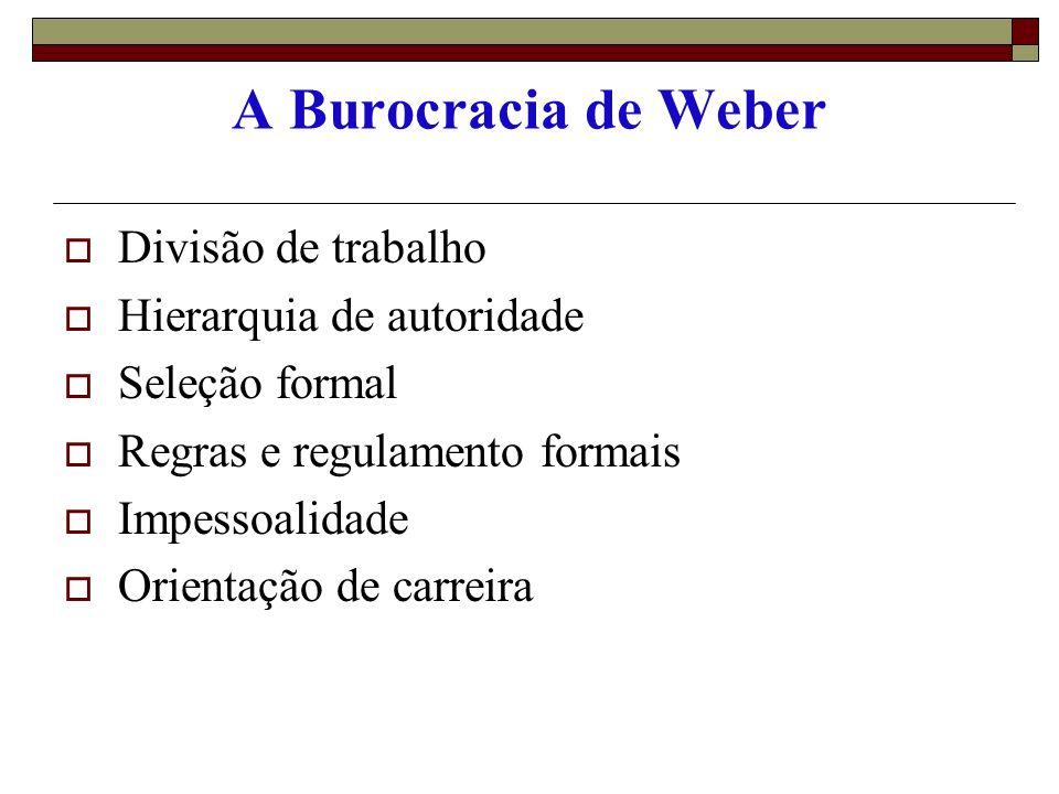 CONCEITO DE BUROCRACIA Conceito Popular: A burocracia é visualizada geralmente como o papelório Conceito de Max Weber: - não definiu a burocracia - mas enumerou as suas características Weber três tipos de sociedades - sociedade tradicional - sociedade carismática - sociedade legal, racional ou Burocrática