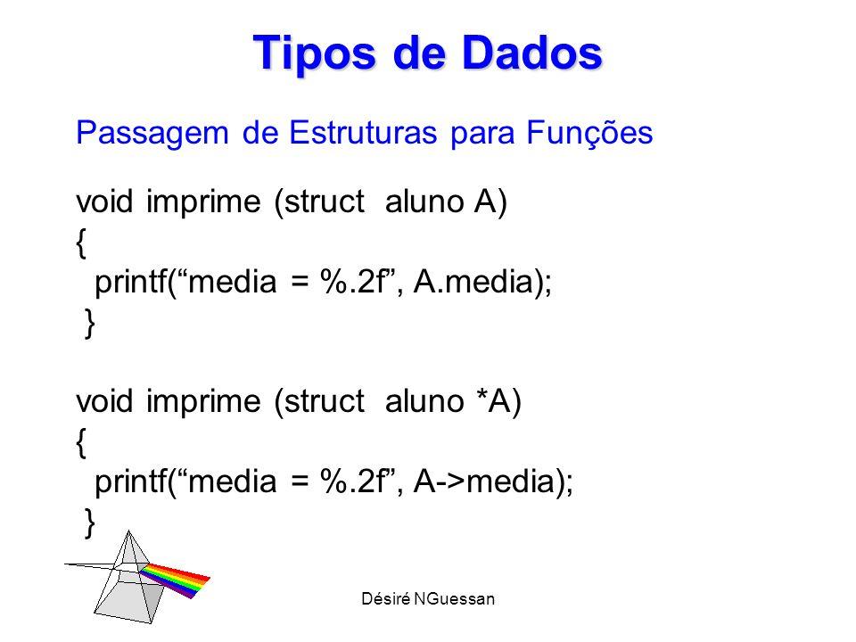 Désiré NGuessan Tipos de Dados Passagem de Estruturas para Funções int main (void) { struct aluno *A; imprime(&A); }