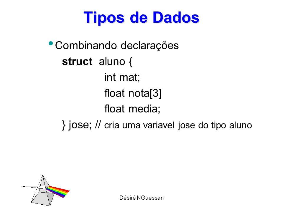 Désiré NGuessan Tipos de Dados – Novo nome para os tipos existentes: typedef O comando typedef não produz um novo tipo, cria apenas novo nome ou sinônimo para o tipo existente Sintaxe: typedef Sinônimo;