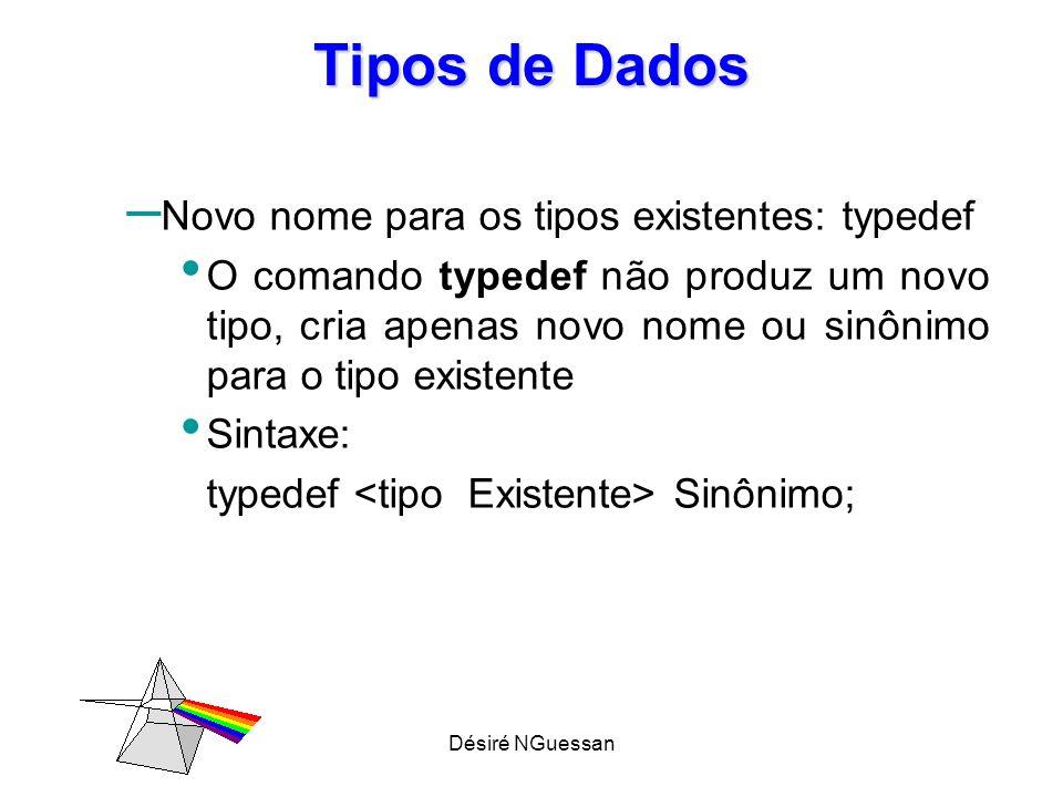 Désiré NGuessan Tipos de Dados – Exemplos typedef char BYTE; // cria o sinônimo BYTE typedef int INTEIRO;// cria o sinônimo INTEIRO typedef struct aluno ALUNO;// cria sinônimo ALUNO