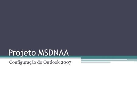 Configuração do Outlook 2007