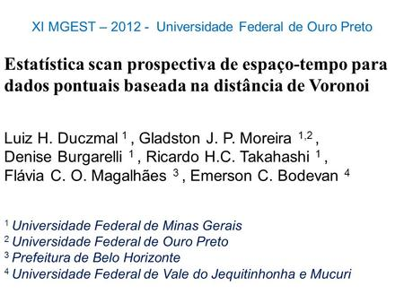 XI MGEST – Universidade Federal de Ouro Preto