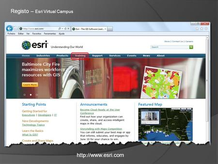 Registo – Esri Virtual Campus.
