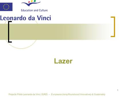 1 Lazer Projecto Piloto Leonardo da Vinci, EURIS – Europeans Using Roundwood Innovatively & Sustainably.
