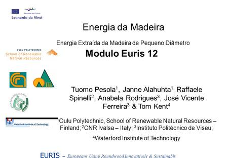 EURIS – Europeans Using Roundwood Innovatively & Sustainably Energia da Madeira Energia Extraída da Madeira de Pequeno Diâmetro Modulo Euris 12 Tuomo Pesola.