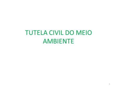TUTELA CIVIL DO MEIO AMBIENTE