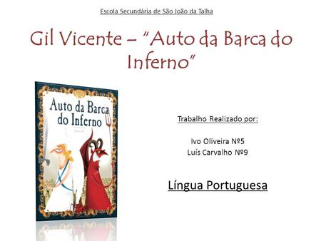 "Gil Vicente – ""Auto da Barca do Inferno"""