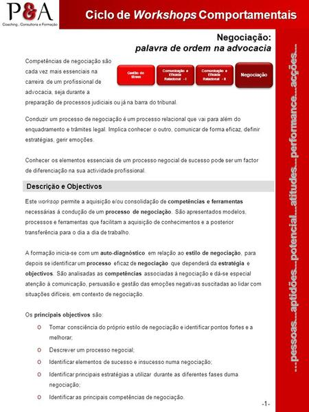 Ciclo de Workshops Comportamentais