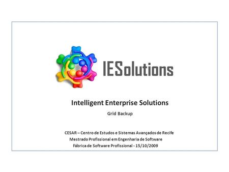 IESolutions Intelligent Enterprise Solutions Grid Backup