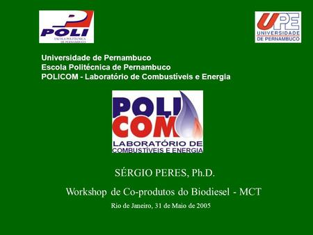 Workshop de Co-produtos do Biodiesel - MCT