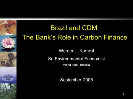 1 Brazil and CDM: The Banks Role in Carbon Finance Werner L. Kornexl Sr. Environmental Economist World Bank, Brasilia September 2005.