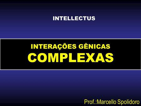 INTERAÇÕES GÊNICAS COMPLEXAS Prof.:Marcello Spolidoro INTELLECTUS.