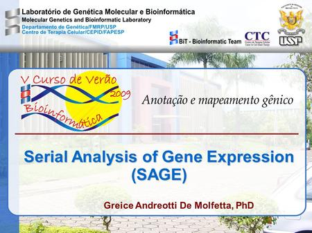 Serial Analysis of Gene Expression (SAGE) Greice Andreotti De Molfetta, PhD.
