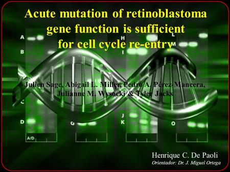 Acute mutation of retinoblastoma gene function is sufficient for cell cycle re-entry Julien Sage, Abigail L. Miller, Pedro A. Pérez-Mancera, Julianne M.