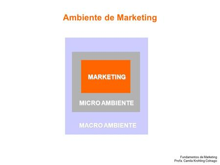 Fundamentos de Marketing Profa. Camila Krohling Colnago Fundamentos de Marketing Profa. Camila Krohling Colnago MARKETING MICRO AMBIENTE MACRO AMBIENTE.