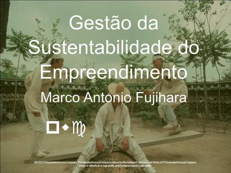 Gestão da Sustentabilidade do Empreendimento Marco Antonio Fujihara ©2003 PricewaterhouseCoopers. PricewaterhouseCoopers refers to the network of member.