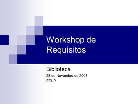 Workshop de Requisitos