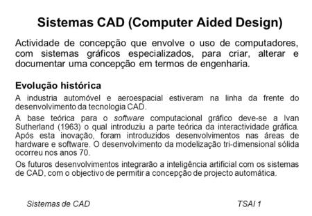 Sistemas CAD (Computer Aided Design)