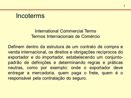 Incoterms International Commercial Terms