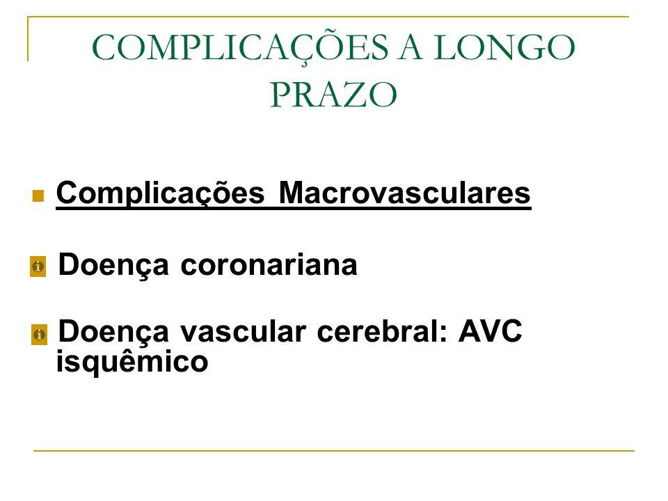 Complicações Microvasculares Nefropatia diabética Retinopatia diabética Doença vascular periférica: doença arterial periférica oclusiva PÉ DIABÉTICO