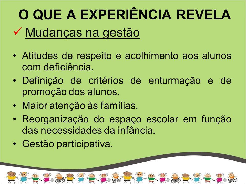 O QUE A EXPERIÊNCIA REVELA Mudanças na gestão Fortalecimento do projeto político-pedagógico.
